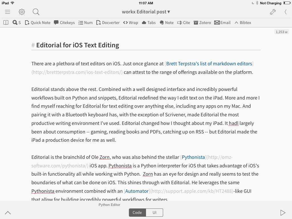 The overall view of Editorial for iPad