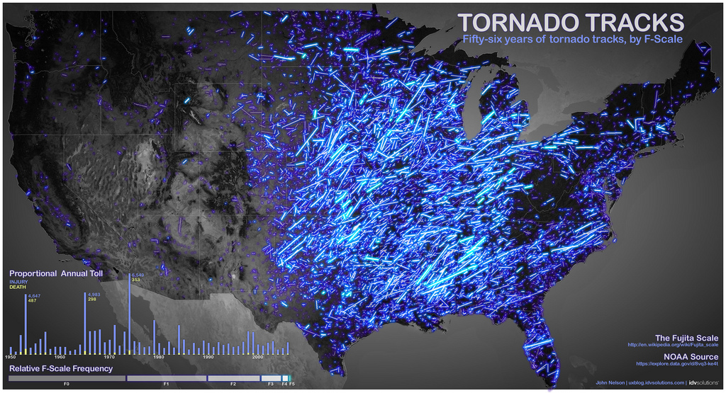 Historical paths of tornadoes